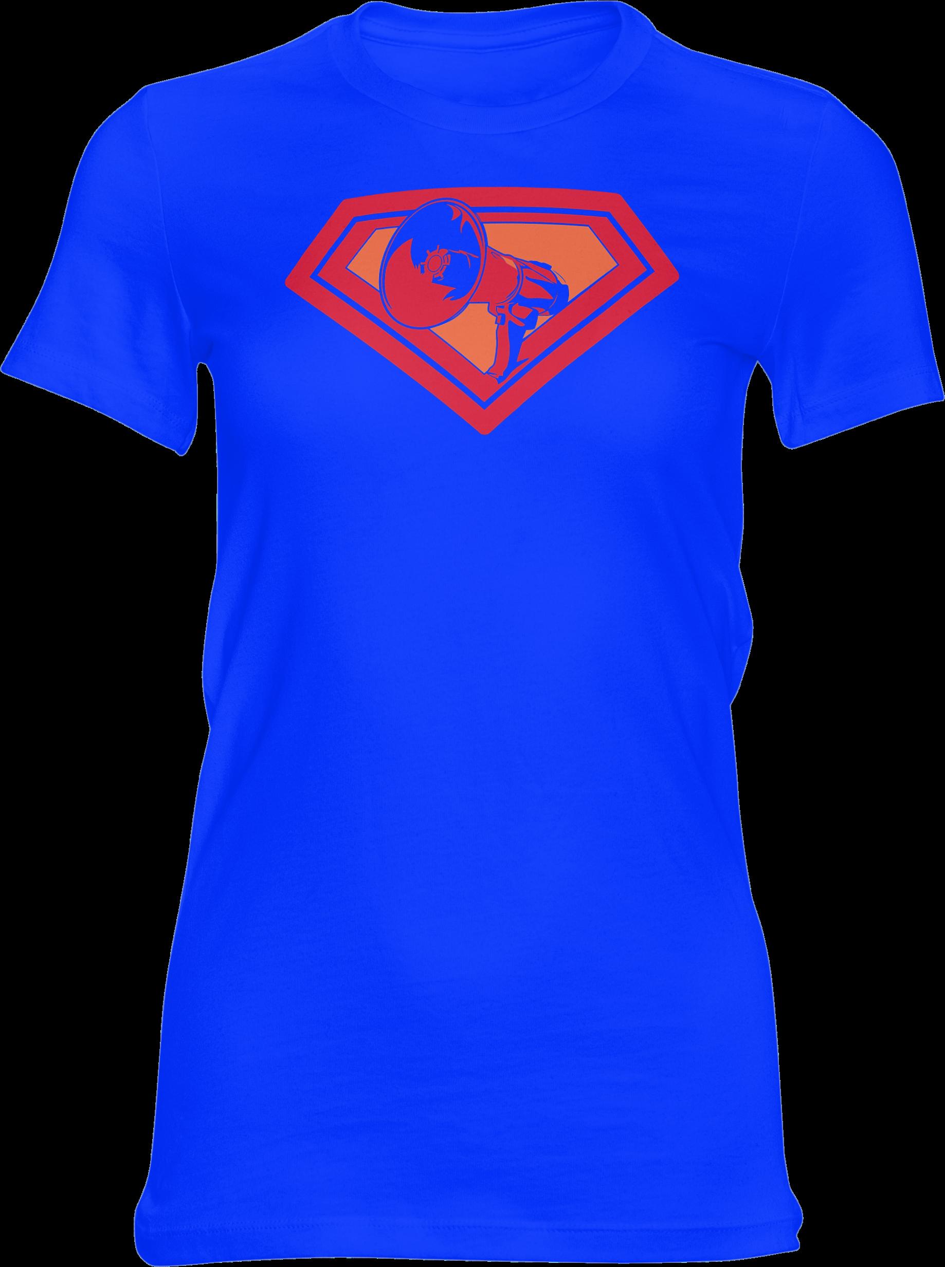 AOP – Mutter Theresa Logo – Girlie-Shirt (blau)