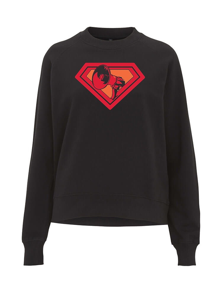 AOP – Mutter Theresa Logo – Sweatshirt-Girlie (schwarz)