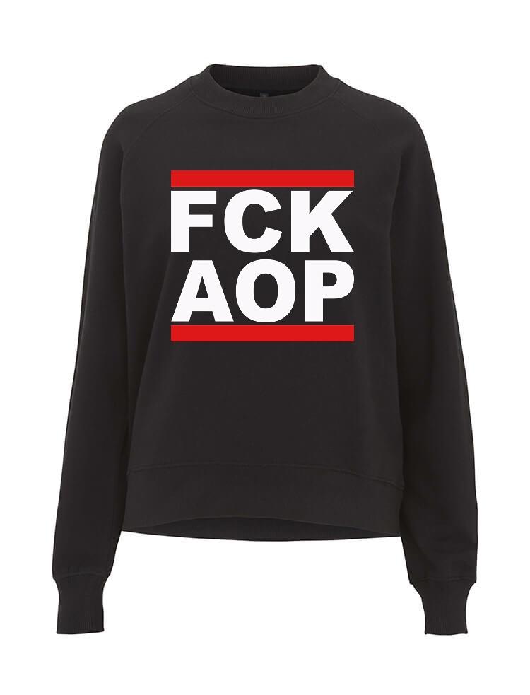 AOP – FCK AOP – Sweatshirt-Girlie (schwarz)