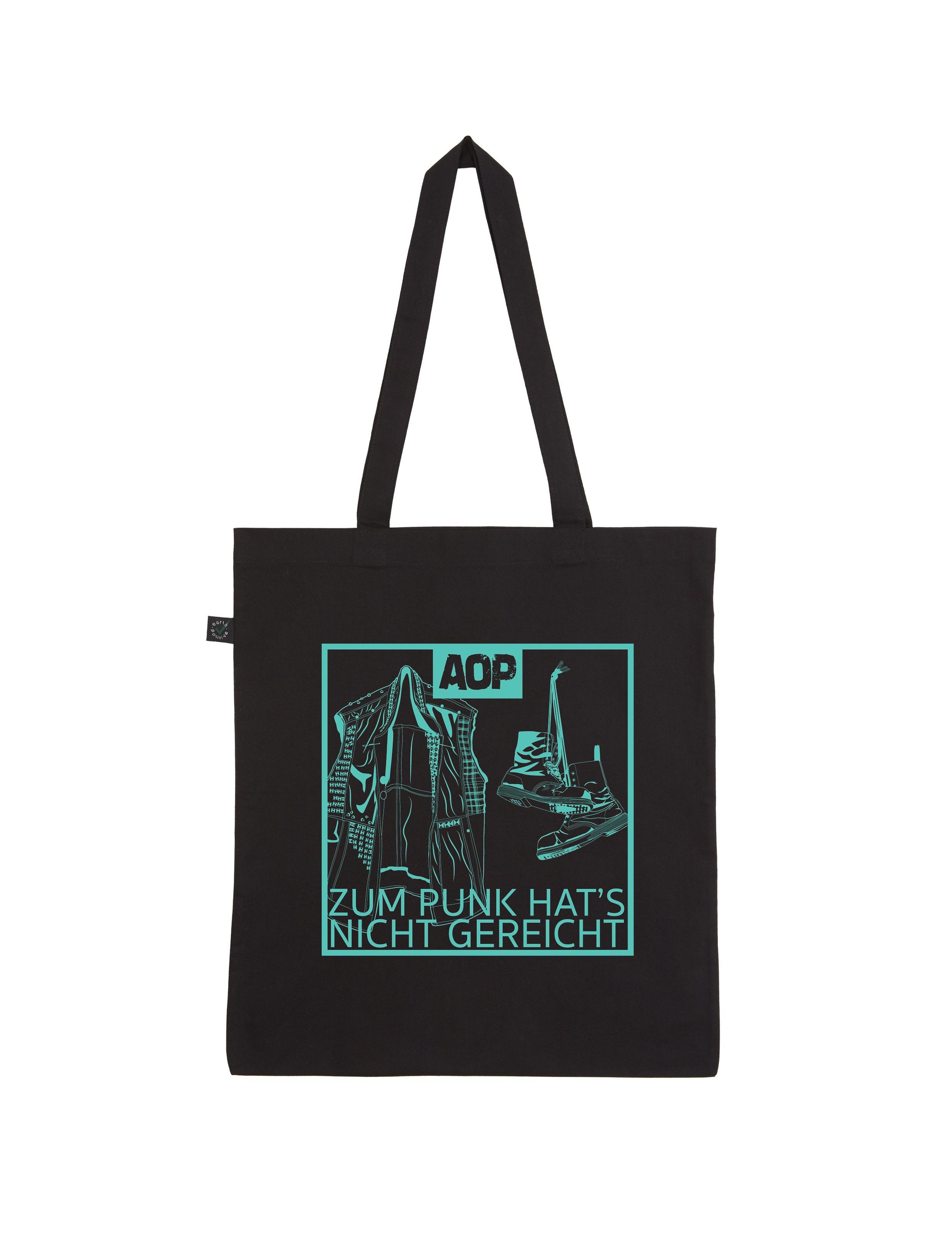 AOP – Zum Punk hat's nicht gereicht – Shopper-Bag (schwarz)