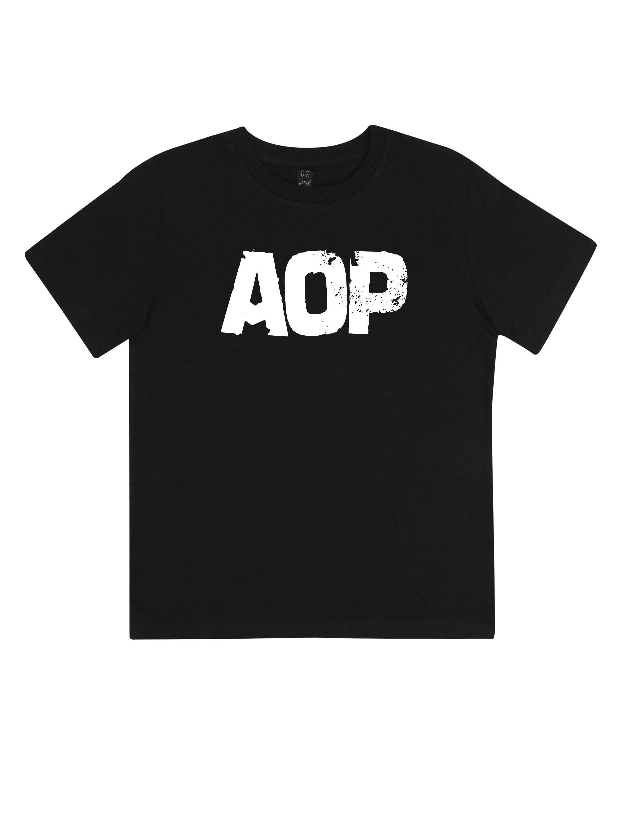 AOP – AOP Logo – Kids-Shirt (schwarz)