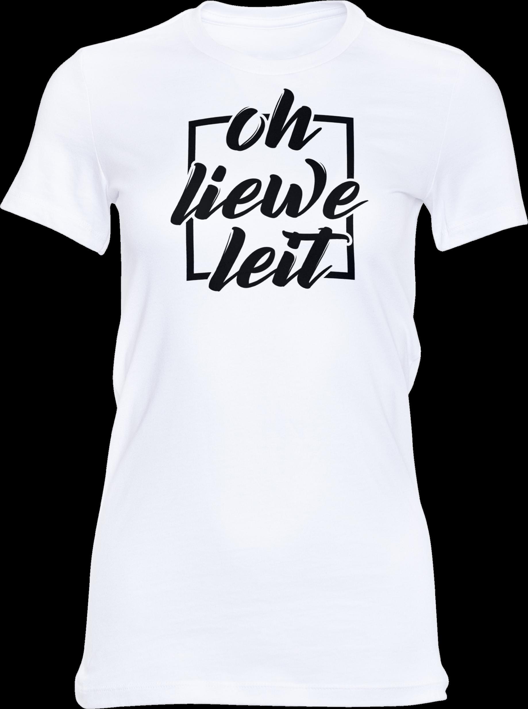 Motiv-Shirt – Oh liewe Leit – Girlie-Shirt (weiß)