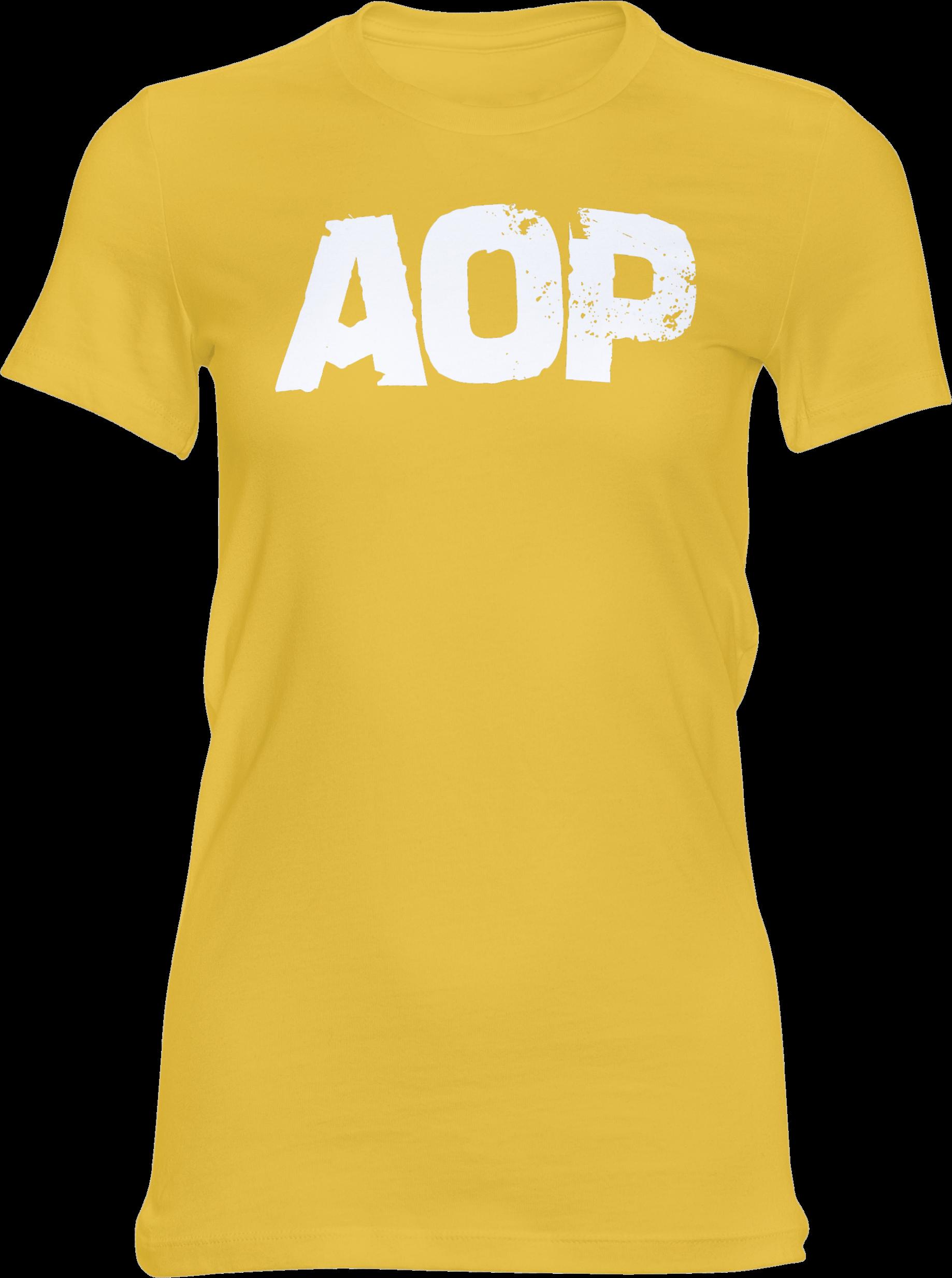 AOP – AOP Logo – Girlie-Shirt (gelb)