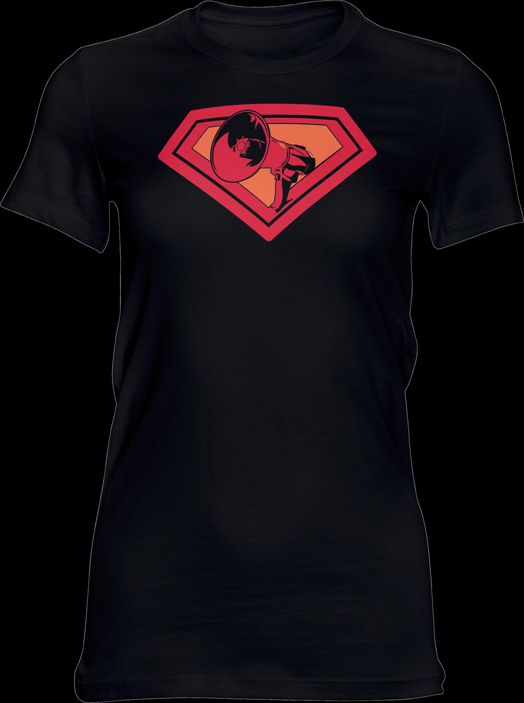 AOP – Mutter Theresa Logo – Girlie-Shirt (schwarz)