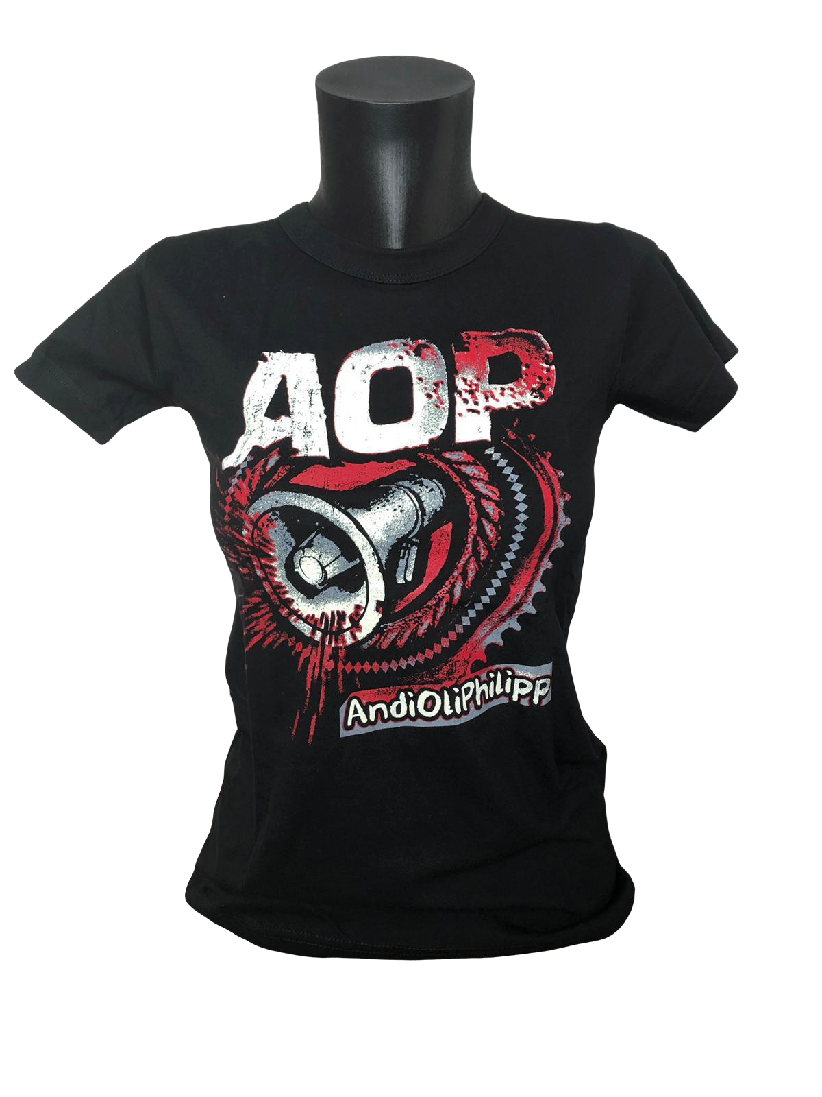 AOP – Megafon-Zahnrad – Girlie-Shirt