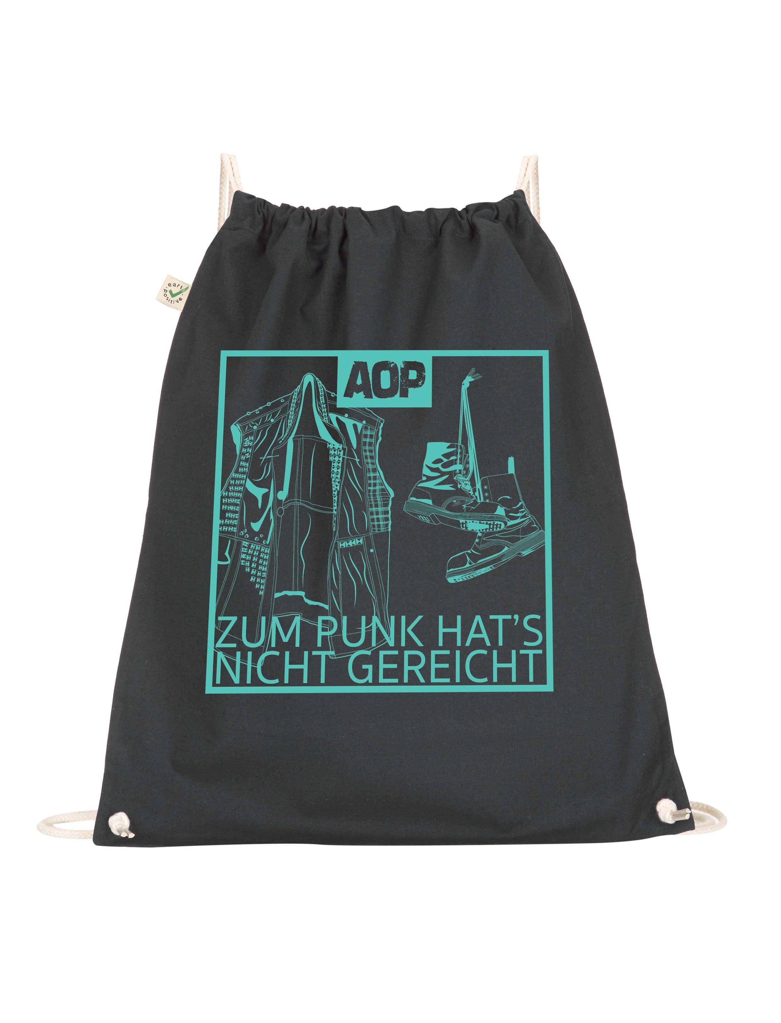 AOP – Zum Punk hat's nicht gereicht – Gym-Bag (schwarz)