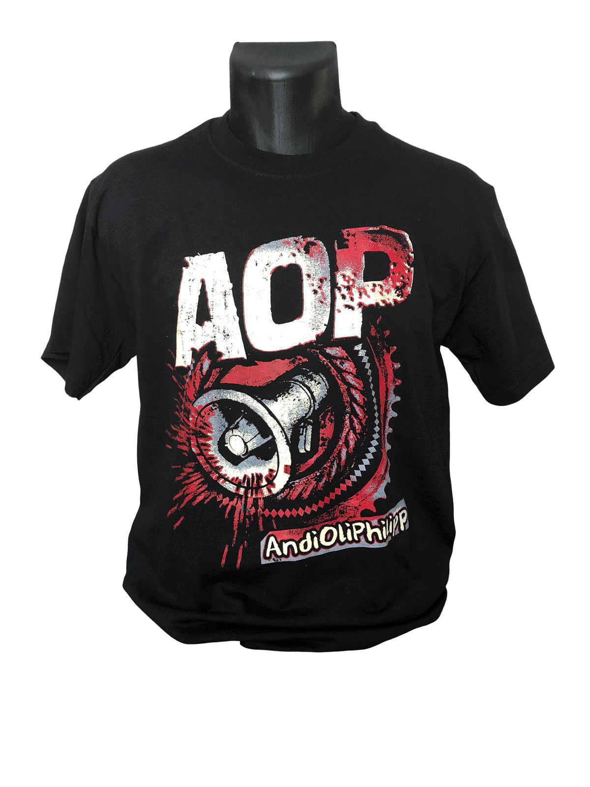 AOP – Megafon-Zahnrad – T-Shirt